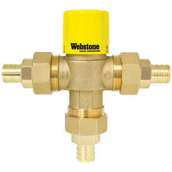 "Webstone 73202W   1/2"" PEX LEAD FREE THERMOSTATIC MIXING VALVE w/CHECK OUTLET TEMP 95-131F - 150 PSI"