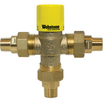 "Webstone 74204W   1"" MIP LEAD FREE THERMOSTATIC MIXING VALVE w/CHECK OUTLET TEMP 95-131F - 150 PSI"
