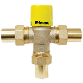 "Webstone 75203W-CAN   3/4"" SWT LEAD FREE THERMOSTATIC MIXING VALVE w/ CHECK OUTLET TEMP 95-120F - 150 PSI"