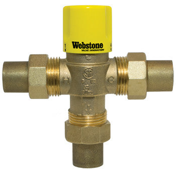 "Webstone 75203W   3/4"" SWT LEAD FREE THERMOSTATIC MIXING VALVE w/CHECK OUTLET TEMP 95-131F - 150 PSI"