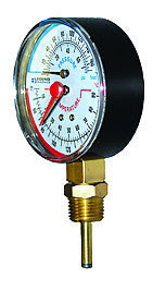 "LEGEND HYDRONICS 800-664   T-825 BOTTOM MOUNT TEMPERATURE & PRESSURE GAUGE 1/4"" MPT 40 - 200F"