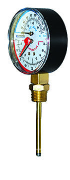 "LEGEND HYDRONICS 800-684   T-825 BOTTOM MOUNT EXTENDED PROBE TEMPERATURE & PRESSURE GAUGE 60-280, 1/2"" MPT, 3"" PROBE"
