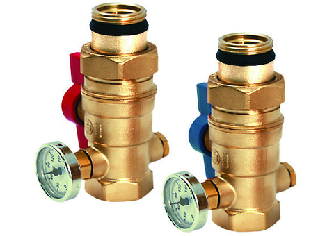 "LEGEND HYDRONICS 800-856T   1-1/4"" MANIFOLD ISOLATION VALVE WITH THERMOMETER - PAIR"