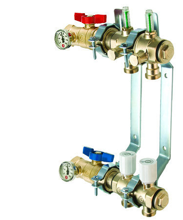 "LEGEND HYDRONICS 8200T-14-6   6 PORT 1-1/4"" PRECISION-T BRASS MANIFOLD WITH THERMOMETER"