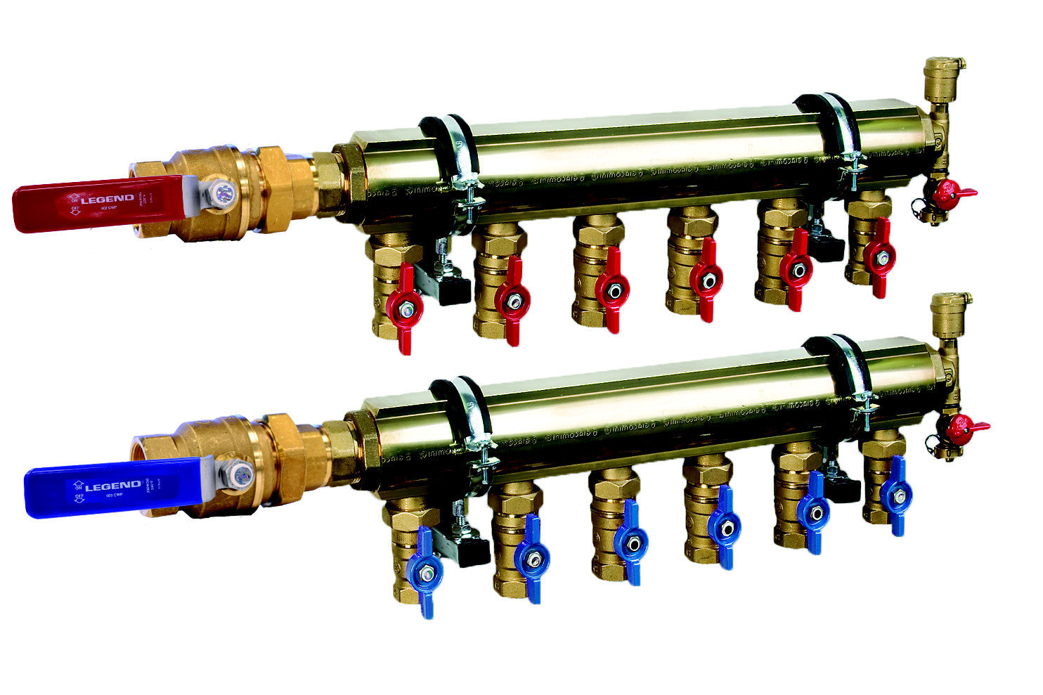 "LEGEND HYDRONICS 8220-15-3   3 PORT 1-1/2"" HI-CAPACITY MANIFOLD BASE - 4 BRACKETS"