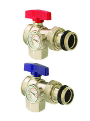 "LEGEND HYDRONICS 830-825   M-8300 1"" ANGLE ISOLATION VALVE WITH THERMOMETER - PAIR"