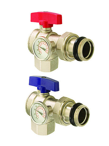 "LEGEND HYDRONICS 830-825R   M-8300 1"" ANGLE ISOLATION VALVE WITH THERMOMETER - RED"