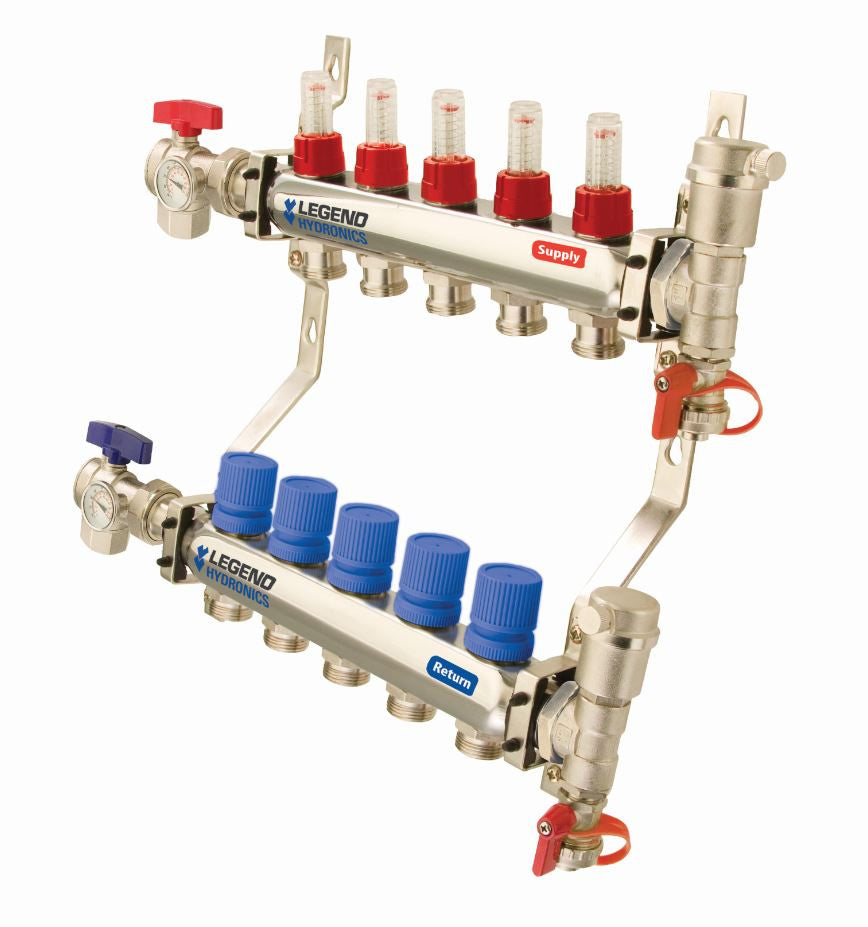 "LEGEND HYDRONICS 8300AP-10-10   10-PORT 1"" STAINLESS STEEL MANIFOLD WITH ANGLE ISOLATION VALVE"