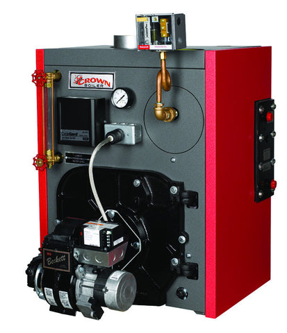 Crown Boiler - KSZ Series - Kingston Model KSZ075 - 90,000 BTU Built-in Wet Base Cast Iron Oil Fired Steam Boiler - (84.5% AFUE) High Efficiency Boiler