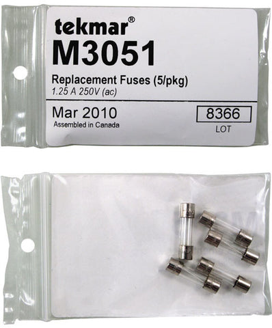Tekmar M3051   Replacement Fuses (5/pkg) - 1.25 A, 250V (ac)