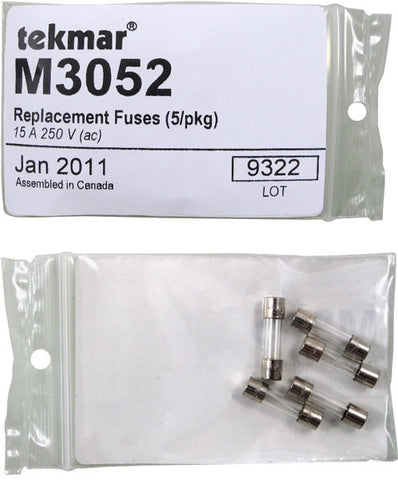 Tekmar M3052   Replacement Fuses (5/pkg) – 15 A, 250 V (ac)