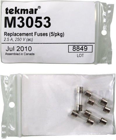 Tekmar M3053   Replacement Fuses (5/pkg) – 2.5 A, 250 V (ac)