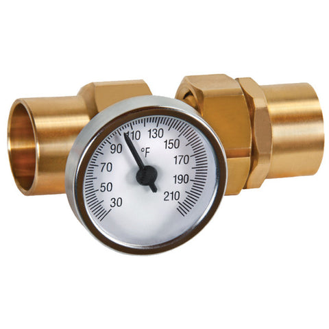 "Caleffi NA10296 Brass 1"" Sweat Union Adapter With Temperature Gauge"