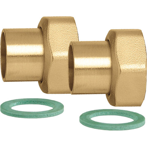 "Caleffi NA12259 3/4"" Sweat Union Connection Set, 2 Union Nuts, Washers, and Tailpieces"