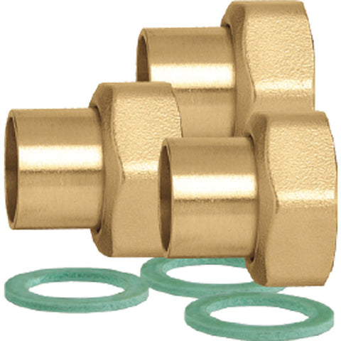 "Caleffi NA12359 3/4"" Sweat Union Connection, 3 Union Nuts, Washers, and Tailpieces"