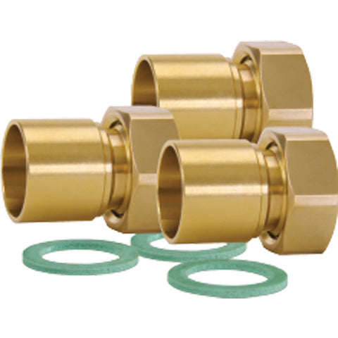 "Caleffi NA12360 1"" NPT Union Connection Set, 3 Union Nuts, Washers, and Tailpieces"