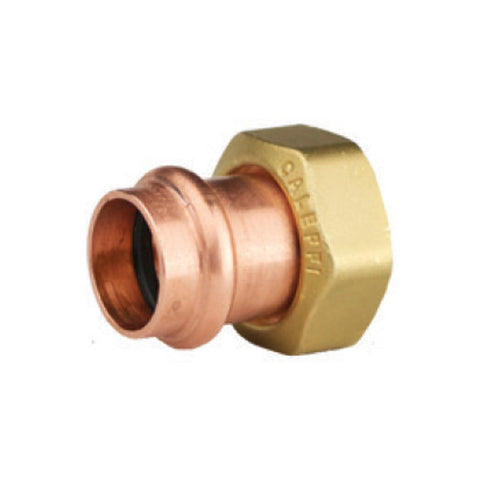 "Caleffi NA16265 3/4"" Presscon Copper Press Tail Piece With 1"" Brass Union Nut"