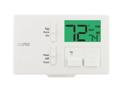 LuxPro P111   NON-PROGRAMMABLE THERMOSTAT, PUSH BUTTON DUAL POWER, HORIZONTAL MOUNT (1 HEAT - 1 COOL)