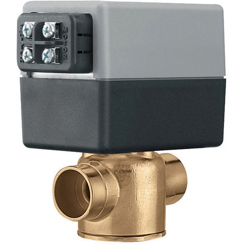 "Caleffi Z50F Brass Model Z5 2-Way, Normally Closed End Switch, 24V, 3/4"" Inverted Flare, 3.5 Cv 30psi With Terminal Block"