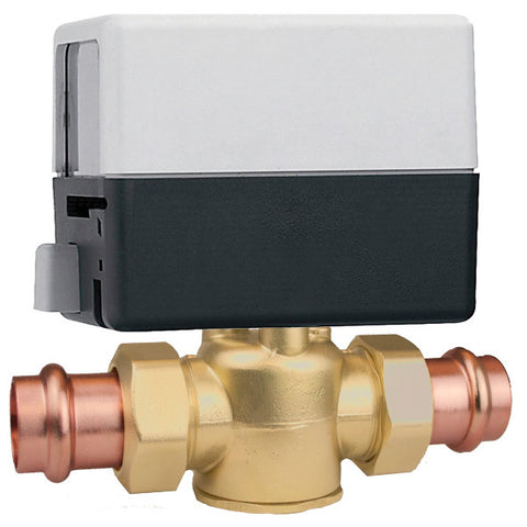 "Caleffi Z55P Brass Model Z5 2-Way, Normally Closed End Switch, 24V, 3/4"" Press 7.5 Cv 20psi With Terminal Block"
