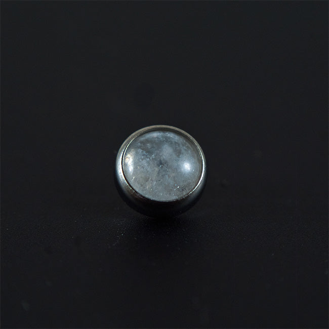 Titanium Natural Stone Cabochon Flat Moonstone Attachment