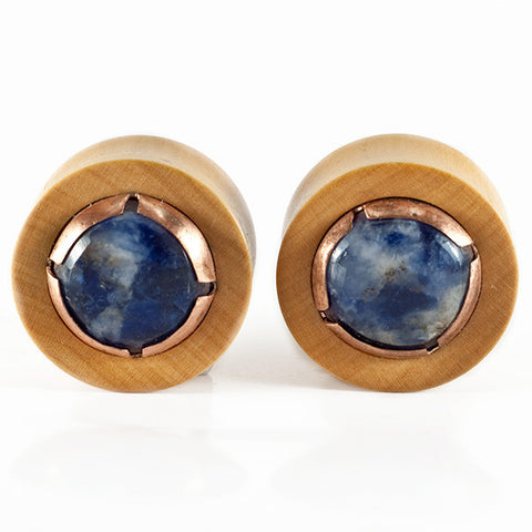 24mm Boxwood Plugs with Sodalite Cabochon (Pair)