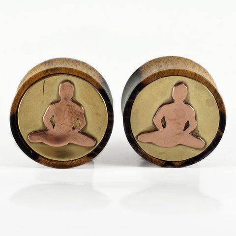 22mm Black & White Ebony Plugs with Brass & Copper Meditating Buddha (Pair)
