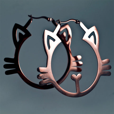 Feline Hoop Earrings - Rose Gold