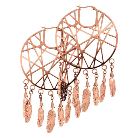 Dreamcatcher Hoop Earrings - Rose Gold