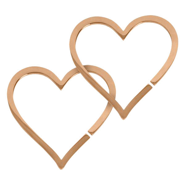 Heart Shaped Ear Weight Hoops - Rose Gold