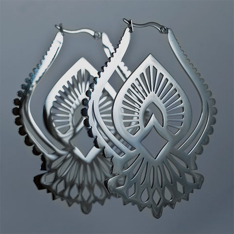 Namaste Hoop Earrings - Polished Steel