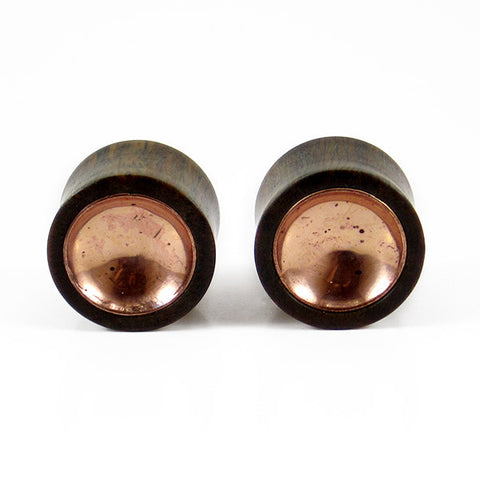 18mm Lignum Vitae Wood Plugs with Copper Bowls (ONLY SINGLE PLUG AVAILABLE)