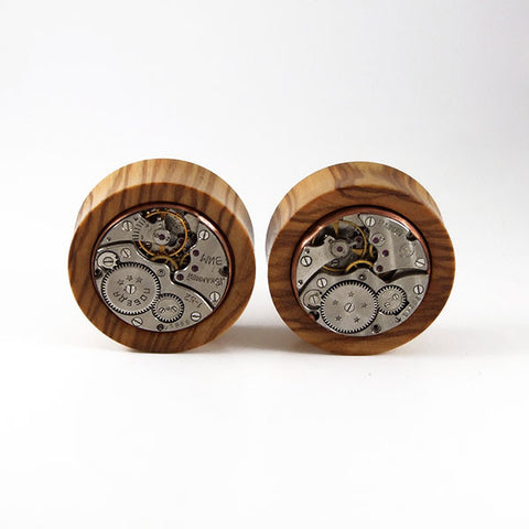 35mm African Wild Olive Wood Watch Movement Plug (Pair)