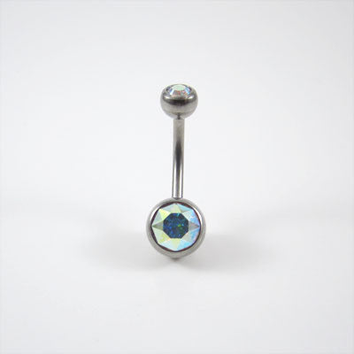 Titanium Double Jewelled Navel Bar