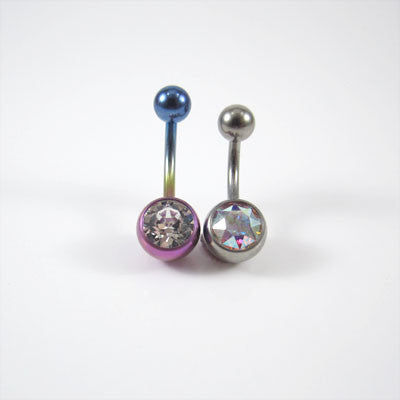 Titanium Single Jewelled Navel Bar