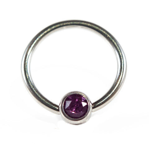 Titanium Amethyst Cubic Zirconia Disc BCR - The Halo Collection