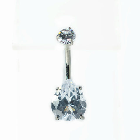 Titanium Teardrop CZ Prong-Set Navel Bar