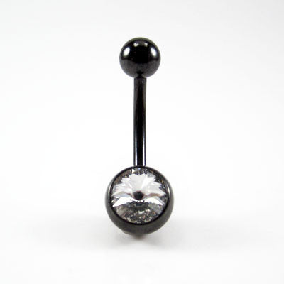 Blackline® Titanium Single Jewelled Navel Bar
