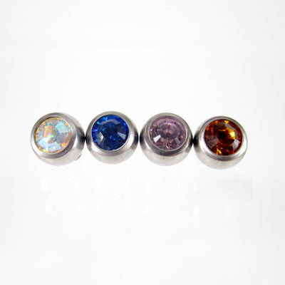 Titanium Threaded Jewelled Ball