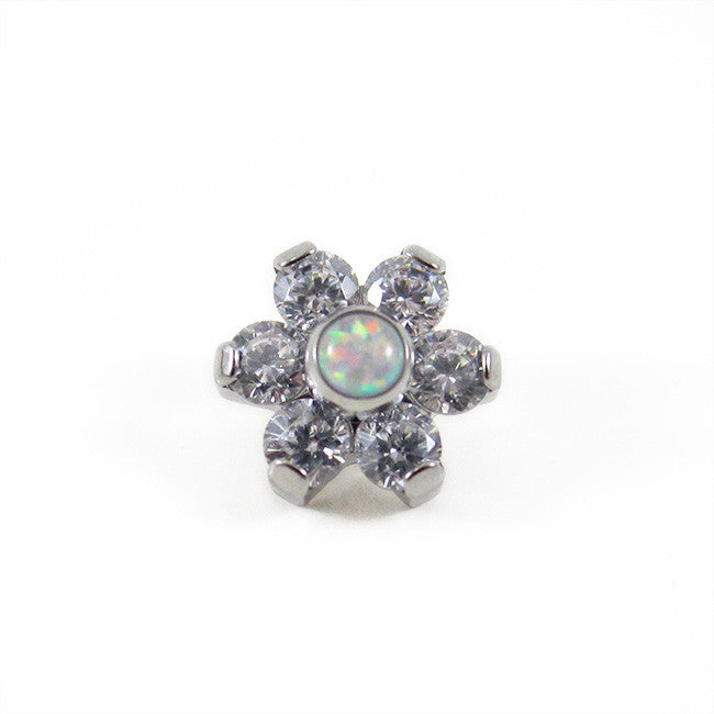 Titanium Crystal Flower Attachment - 6 Cubic Zirconia Petals with Opal centre