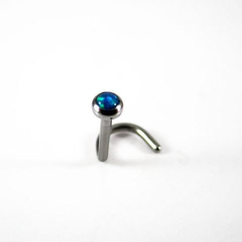 qualiti peacock blue opal nostril screw single
