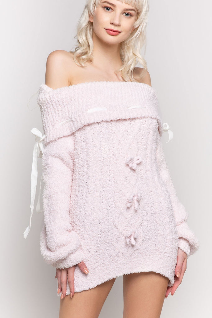 POL-Off the shoulder berber fleece knit sweater