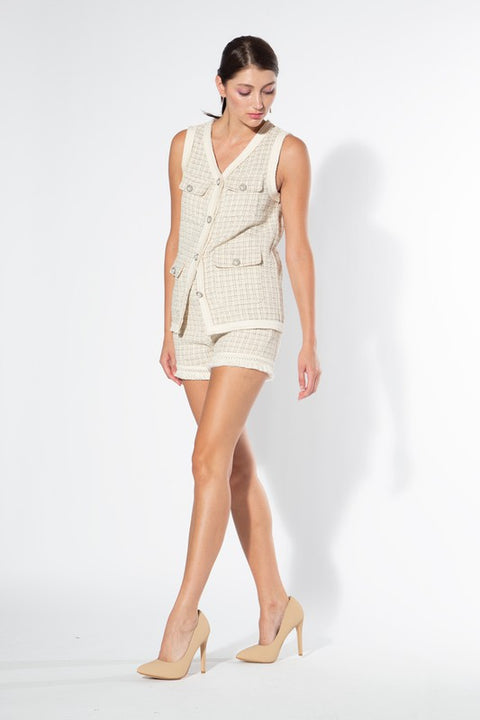 Sleeveless Tweed Set