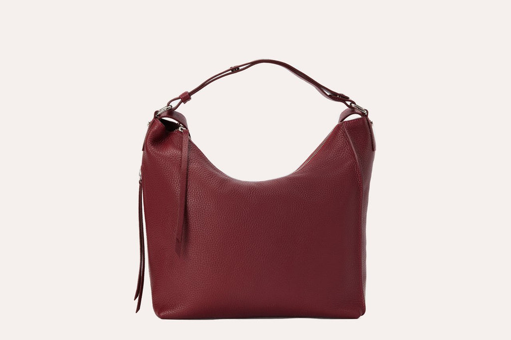 Kiko Genuine Leather Versatile Shoulder Bag Burgundy