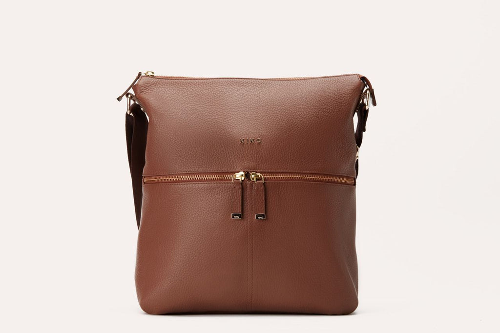 Kiko Genuine Leather Zip Tote - Dark Brown