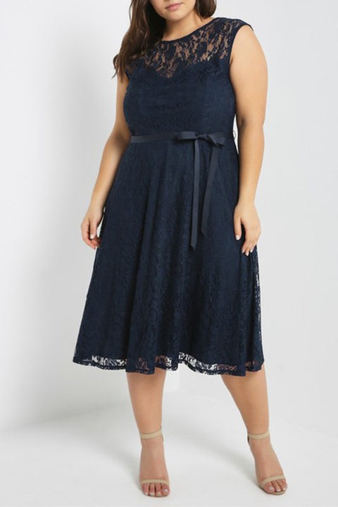 Solid Floral Lace Overlay Plus Size Dress