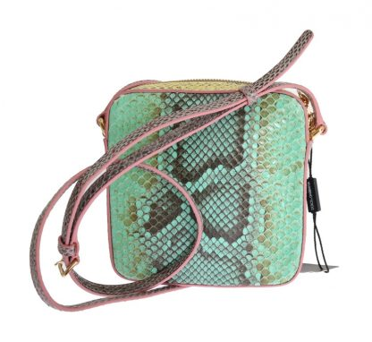 GREEN PINK GLAM SNAKESKIN SHOULDER CLUTCH BAG
