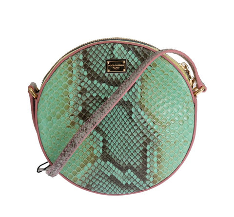 ROUND GREEN PINK GLAM SNAKESKIN SHOULDER CLUTCH BAG