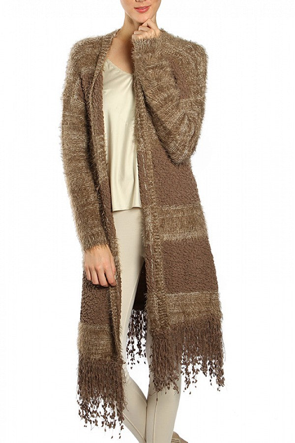 RYU MOHAIR STRIPED LONG CARDIGAN WITH FRINGE HEM - BROWN