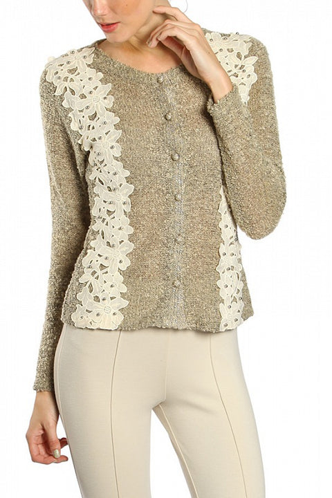 RYU PEARLESCENT BEAD EMBROIDERED CROCHET PANEL JACKET